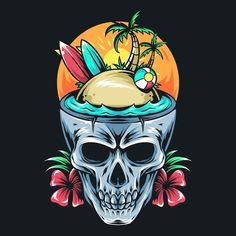Tree Artwork, Beach Artwork, Arte Sharpie, Skull With Horns, Halloween Scarecrow, Surfboard Art, Skull Art, Art Images, Vector Art