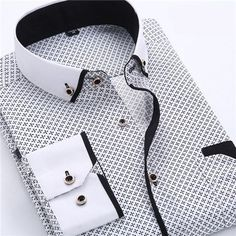Men's Dress Shirt 2016 New Fashion Style Slim Fit Lapel Long-sleeved Cotton Business Male Shirt Plus Size S-4XL N454