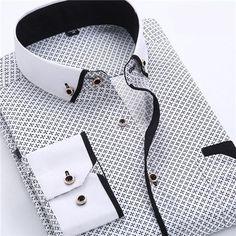 VISADA JAUNA Men's Shirt Printed Casual Brand Clothing Slim Fit Long-sleeve Cotton Business Male Shirts Plus Size S-4XL N454