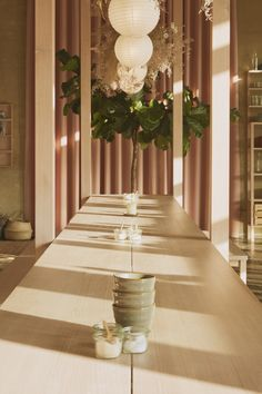 Douglas fir-wood furnishings feature in Copenhagen's Hverdagen restaurant, which local studio Vermland has designed to have a familial atmosphere. Douglas Fir Tree, Douglas Fir Wood, Noguchi Lamp, Coffee Shop, Copenhagen Restaurants, Japanese Joinery, Pink Curtains, Paper Lanterns, Restaurant Design