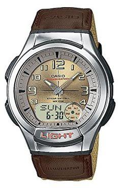 CASIO AQ180WB5BVES - Reloj de caballero de cuarzo, correa de textil color beige