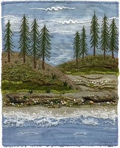 Love the embroidery to enhance a landscape quilt! Ribbon Embroidery, Embroidery Art, Embroidery Stitches, Machine Embroidery, Free Motion Embroidery, Embroidery Patterns, Thread Painting, Thread Art, Landscape Art Quilts