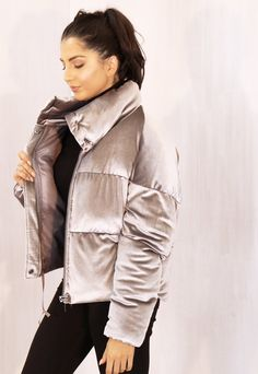 Boxy Cropped Padded Velvet Puffer Jacket with Funnel Neck in Silver Grey - Women Puffer Jackets - Ideas of Women Puffer Jackets Puffer Jacket With Fur, Red Bomber Jacket, Puffer Jackets, Sporty Outfits, Chic Outfits, Fashion Outfits, Womens Fashion, Jackets For Women, Clothes For Women