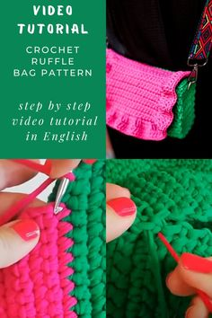 Ruffle bag crochet PDF pattern by IlovecreateStore. Crossbody bag pattern Crochet handbag T-shirt yarn bag Handbag tutorial Gifts for knitters Sister gift. This is a Ruffle crossbody bag crochet PDF pattern with complete and detailed video-description of the whole handbag creating process. Skill level - easy. It will take 1-2 days to create it. The size of the bag will depend on the thickness of the yarn and the density of your crocheting.