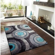 Silver, Gray, Turquoise, and Black Circular Modern Hand-tufted Shag Area Rug (5' x 7') (5'x7'), Blue, Size 5' x 7' (Polyester, Abstract)