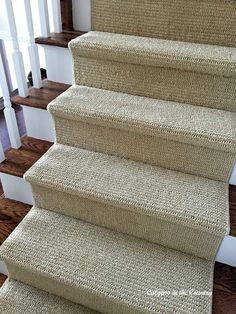 Do you love the look of sisal but don't like the feel? We found a great sisal substitute for our stairs and we couldn't be happier! Staircase Carpet Runner, Stairway Carpet, New Staircase, Staircase Makeover, Hall Carpet, Staircase Design, Basement Carpet, Carpet On Stairs, Stair Design