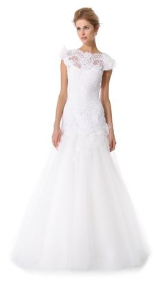 Marchesa Wedding Dress |  Embroidered Layered Laces Gown with Keyhole Back