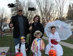 The Mary Poppins entourage, including a dancing penguin. | 33 Family Halloween Costumes That Are Absolutely Fantastic