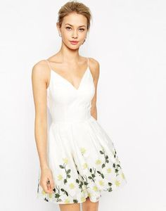 Chi Chi London Full Prom Skater Dress With Embroidered Daisy Hem at asos.com #promdress #prom #offduty #cocktailattire #women #covetme
