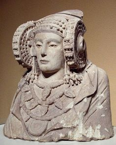 """Dama d'Elx (Lady of Elche), Punic-Iberian bust.  It came from the mysterious town of Tarshish, west coasts of Spain, founded by the Peleset ancestors of the Philistines, and the Turshi (Etruscans)  Both from the Sea Peoples (Haou-Nebout)    Psalm 72-Solomon .. The King of Tarshish is called """"king of the islands too""""  and the islands were those of the Haou-Nebout, in the middle of the Atlantic Ocean.  Already partially submerged since millennia after the first Great Flood"""