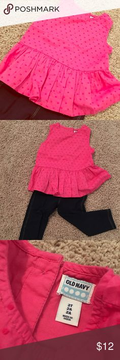 Pretty In Pink Peplum Toddler Top Precious pink peplum style toddler top with adorable button up back. Perfect condition. GAP Shirts & Tops Blouses