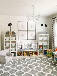 Small Playroom, Toddler Playroom, Playroom Design, Kids Room Design, Playroom Decor, Nursery Decor, Boys Playroom Ideas, Playroom Bench, Gray Playroom