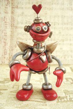 Cupid Robot Rustic Red Ruprecht by ~HerArtSheLoves theawesomerobots.com