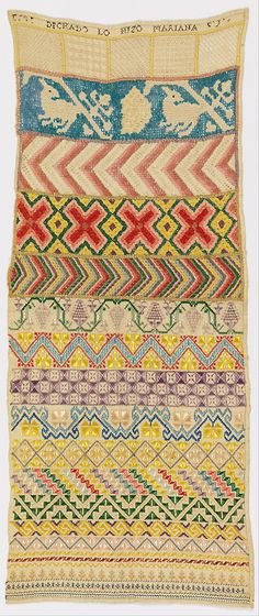 Band sampler (early 19th century). Worked by an unknown person.  Silk embroidery on linen foundation. Technique: embroidered in satin, running, eyelet, and four-sided stitches.  Cooper–Hewitt, National Design Museum. Image and text Wikimedia.