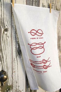 Nautical decor RED Tea Towel knot design Screen printed linen kitchen towel kitchen decor red