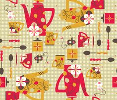 Retro Tea Party - © Lucinda Wei fabric by simboko on Spoonflower - custom fabric