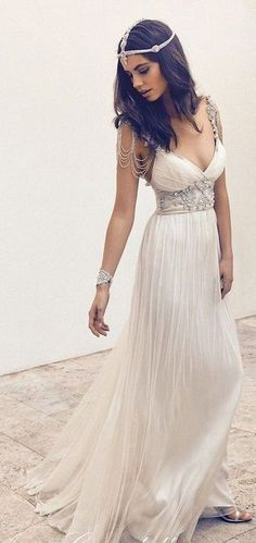 vintage v neck boho wedding dress #weddingdresses #weddingdress #bohowedding