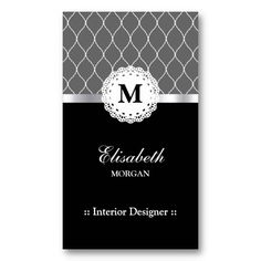 Interior Designer - Elegant Black Lace Pattern Business Card Templates