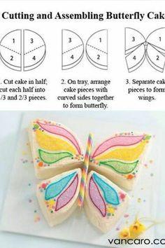 DIY Butterfly Birthday Cake from round cake Butterfly Birthday Cakes, Butterfly Cakes, Cake Birthday, Butterflies, Birthday Ideas, Birthday Recipes, 5th Birthday, Birthday Wishes, Beautiful Cakes