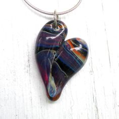 Glass Heart Pendant Lampwork Focal Bead Hand Blown by UntamedRose, $25.00