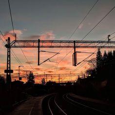 Morgenrøde over Sagdalen stadjon Utility Pole, Pictures, Photos, Grimm