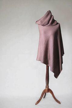 Knit poncho beige poncho beige scarf beige cape by KnitwearFactory
