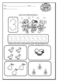 Alfabetizando com Mônica e Turma: Números de 1 a 9 Homeschool Kindergarten, Kindergarten Worksheets, Classroom Activities, Preschool, Simple Math, Math For Kids, Toddler Learning, Mathematics, Teaching