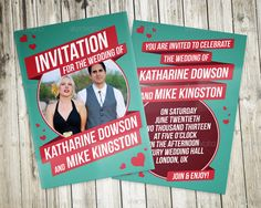 Retro Wedding invitation.  Features: 7 color styles included (front & back) Print Ready with bleed (300 DPI – CMYK) Layered & Customizable Well organized Fully Editable Easy to edit (smart objects)... Retro Wedding Invitations, You Are Invited, Model Photos, Wedding Cards, My Books, Cool Designs, Templates, Design Cards, Coupon