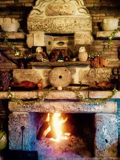 Perfect fire place old fashion in taverna yialos corfu