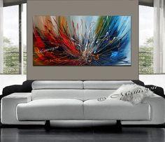 Original peinture acrylique rouge bleu grande par largeartwork