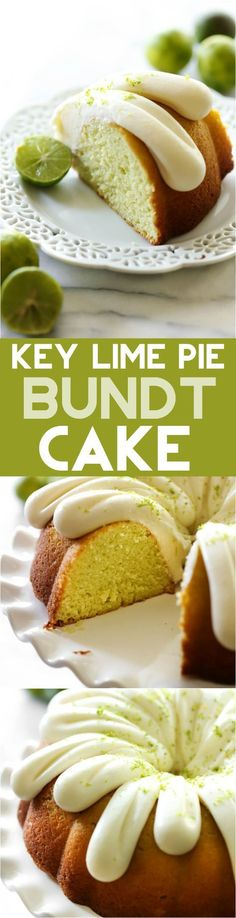This Key Lime Pie Bundt Cake - Has a light, zesty and refreshing flavor! It is super moist and the cream cheese frosting on top is the perfect finishing touch! - I do love key lime pie. Just Desserts, Delicious Desserts, Dessert Recipes, Yummy Food, Lime Desserts, Recipes Dinner, Pasta Recipes, Crockpot Recipes, Soup Recipes