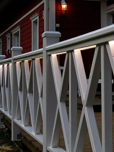 Terrace rail lighting adds more cosy living space Outdoor Spaces, Outdoor Decor, Wooden Lamp, Fences, Cosy, Terrace, Living Spaces, Lights, Design