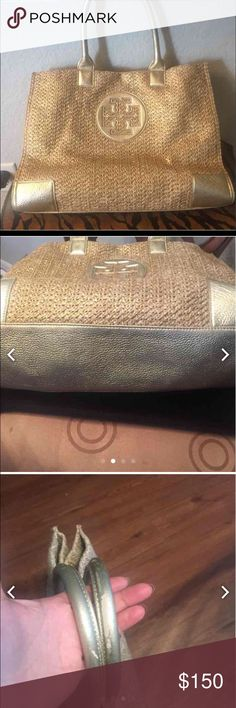 Tory burch large bag( gold ) Used condition some water spots inside , sing of wear on the handles not really noticeable because of the color ,Over all in really good condition Tory Burch Bags Totes