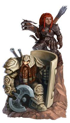 Dwarf, Zwerg, Warrior, Krieger, Larp, Armor, Rüstung, Axe, Axt, Schild, Shield,Crossbow, Armbrust, Couple, Ehepaar, Team