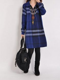 ★ Big blue plaid long time to flourish is a classic color, loved by the ladies. Cotton lapel long-sleeved dress, cut just right of the Plaid Garment,