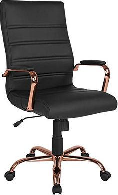 Flash Furniture High Back Black LeatherSoft Executive Swivel Office Chair with Rose Gold Frame and Arms, BIFMA Certified Swivel Office Chair, Home Office Chairs, Home Desk, Home Office Furniture, Desk Chair, Furniture Decor, Room Decor Bedroom Rose Gold, Room Ideas Bedroom, Cute Room Decor