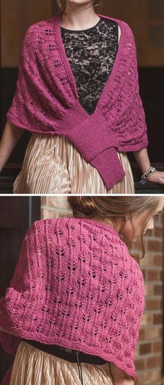 Knitting Pattern for Chloe Stole - Flame lace stitch shawl that fastens by slipping a ribbed tab through a loop in front. Designed by Shaina Bilow