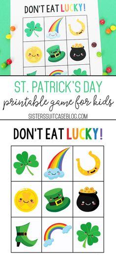 St. Patrick's Day Printable Game: Don't Eat Lucky! #stpatricksday #kidsgame #printable