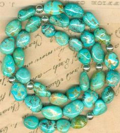 """Southwest Kingman Mine Turquoise Beads Up to 12mm Sterling Beads All Natural 16"""" 