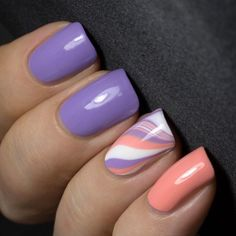 piCture pOlish 'Peaches n Cream + Wisteria' accent marble nails by Outipapu LOVE shop on-line: www.picturepolish.com.au
