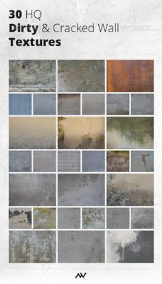 Pack of 30 high-resolution photos/textures of dirty, grunged, grimmy and cracked city walls  from granite, concrete, decay to rust