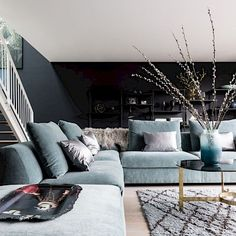 Basement Living Rooms, Chic Living Room, Living Room Interior, Home Living Room, Living Area, Living Room Designs, Living Spaces, Living Room Inspiration, Interior Inspiration