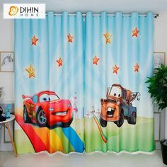 DIHINHOME Home Textile Kid's Curtain DIHIN HOME 3D Printed Cartoon Cars The Mcqueen Blackout Curtains,Window Curtains Grommet Curtain For Living Room ,39x102-inch,2 Panels Included Printed Curtains, Kids Curtains, Window Curtains, Rod Pocket Curtains, Grommet Curtains, Blackout Curtains, Curtain Length, Room Darkening