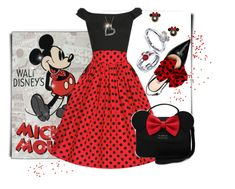 """""""...Polka Dots and Bow Ties..."""" by tgtigerlily ❤ liked on Polyvore featuring Disney and Kate Spade"""
