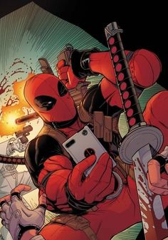 Deadpool taking pictures of his handy work