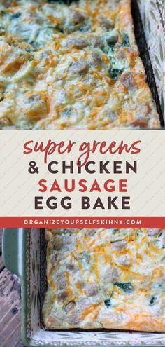 Super Greens and Chicken Sausage Egg Bake | Healthy Breakfast Recipes - This easy to prepare egg bake is filled with kale, swiss chard, baby spinach, and delicious chicken sausage. It's low-carb, high protein, and can be made-ahead of time to enjoy for breakfast all week. Organize Yourself Skinny | Skinny Recipes | Healthy Meal Prep Recipes | Meal Planning for Beginners | Healthy Easter Recipes | Healthy Eating | Weight Loss Recipes | How To Lose Weight Healthy Freezer Meals, Healthy Meals For Two, Healthy Meal Prep, Healthy Foods To Eat, Healthy Baking, Healthy Breakfast For Weight Loss, Healthy Brunch, Healthy Breakfast Recipes, Brunch Recipes