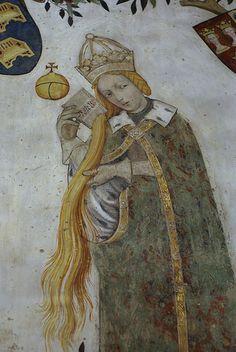 castello della manta fresco | Castello della Manta, Salone Baronale, Beatrice Visconti als Antiope ...