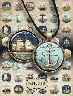 OLD NAVY SHIPS - Digital collage sheets Printable 1 inch and 1.5 inch circle Images for round glass or resin Pendants bezel settings magnets...