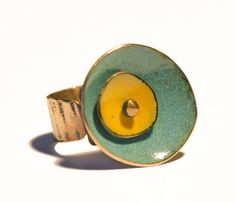 Rustico Anillo Doble Círculo de Cobre Esmaltado joyería por Cuprita, $30.00