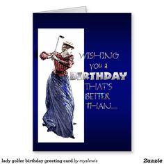 lady golfer birthday greeting card